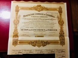 MANIUFACTURE  LYONNAISE  De  COURONNES  &  ARTICLES  FUNAIRAIRES -----  Deux  Actions  De. 100  Frs - Industrial