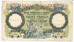 Albania 20 Franga 1939 Italian Occupation (Tear / Taglio) - Albania