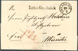"""Porto V. Osnabrück"" Seltener L 1 Nahbereichsbrief Osnabrück - Münster - [1] ...-1849 Préphilatélie"