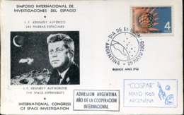 48459 Argentina,special Card  1965 Espace Symposium And Investigation Stamp Argenitna Years Of The Quiet Sun - Lettres & Documents