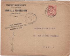 Enveloppe De 1903 Avec Publicité Pour Raynal Roquelaure à Capdenac  ( Conserves Alimentaires ) - Publicités