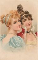 QU 7- CARTE FANTAISIE STYLE EMPIRE - PORTRAIT DE FEMMES - COIFFURES  - 2 SCANS - Femmes