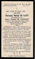Austruweel, Ekeren, 1931, Theresia De Kaey, De Laender - Devotieprenten