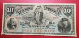 1887 URUGUAY BANCO ITALIANO 10 PESOS - [ 1] …-1946 : Regno