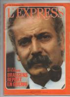Revue Complète L'EXPRESS N°795 Sept 1966: GEORGES BRASSENS  En Couverture (L'EX 795) - Algemene Informatie
