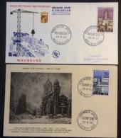 155- Villes Reconstruites Maubeuge 1153 Saint Dié 1154 29/3/1958 Premier Jour FDC Lot 2 Lettre - FDC