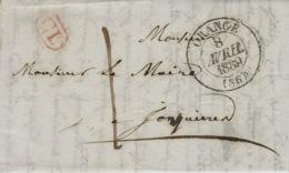 1839 - Lettre D'ORANGE ( Vaucluse ) Cad T13 + Taxe 1 Decime + C L Encadré Rouge Pour Jonquières - Marcophilie (Lettres)