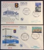 156- Villes Reconstruites Saint Dié 1154 Sète 1155 29/3/1958 Premier Jour FDC Lot 2 Lettre - 1950-1959