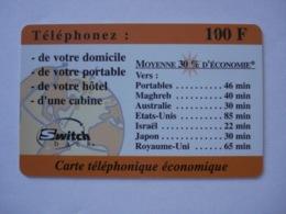 """Carte Téléphonique Prépayée """" Switchback """" (utilisé).RARE - France"""