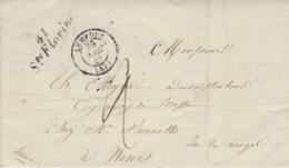 1843- Enveloppe Cursive De Ste Florine ( Haute Loire )  32 Mm + Cad T15 De LEMPDES Taxe 2 D - Marcofilia (sobres)