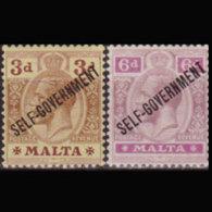 MALTA 1922 - Scott# 79-80 King GV Opt. 3-6p LH - Malta