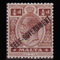 MALTA 1922 - Scott# 86 King Opt. 1/4p LH - Malta