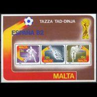 MALTA 1982 - Scott# 618a S/S W.Cup Soccer MNH - Malta