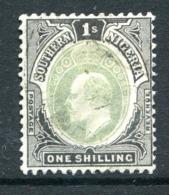 Southern Nigeria 1904-09 KEVII - Wmk. Mult. Crown CA - 1/- Grey-green & Black - Die A - Used (SG 28) - Nigeria (...-1960)