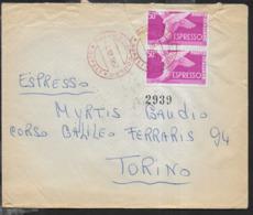 STORIA POSTALE REPUBBLICA - ANNULLO ROSSO PNEUMATICA VOMERO/NAPOLI - 05.12.1957 SU ESPRESSO COPPIA PIEDE ALATO LIRE 50 - Poste Exprèsse/pneumatique