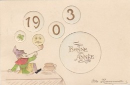 1903 - Zwerg Mit Mond - Prägekarte  - 1903            (91021) - Año Nuevo