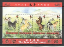 B515 2002 TONGA FAUNA LUNAR CALENDAR YEAR OF THE HORSE !!! GOLD BL42 KB MNH - Nouvel An Chinois