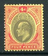 Southern Nigeria 1907-11 KEVII - Wmk. Mult. Crown CA - 4d Black & Red On Yellow Unused (SG 38) - Nigeria (...-1960)