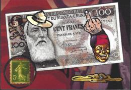 CPM Timbre Monnaie Par Jihel Tirage Limité En 30 Ex Numérotés Signés Banania Belgique Cléo Négritude Billet De Banque - Coins (pictures)