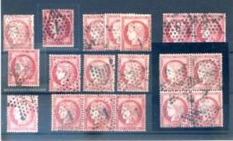 France, N°57 Lot Oblitération Etoile De Paris, Dont Bloc De Quatre, Paire, Bande De Trois - (F225) - 1871-1875 Cérès