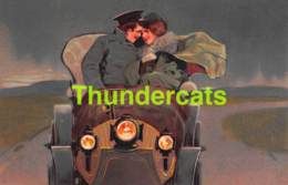 CPA EN RELIEF GAUFREE COUPLE HOMME FEMME AUTO AUTOMOBILE EMBOSSED CARD COUPLE CAR ( CLAPSADDLE - BRUNDAGE ) PFB - Couples