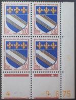 R1949/1403 - 1975 - BLASON De TROYES - BLOC N°1353 TIMBRES NEUFS** CdF Daté (chiffres Jaunes) - 1970-1979