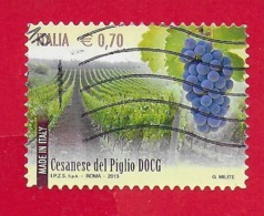 ITALIA REPUBBLICA USATO - 2013 - Made In Italy Vini DOCG - Cesanese Del Piglio -  € 0,70 - S. 3423 - 6. 1946-.. Republic