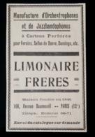 LIMONAIRE FRERES ORCHESTROPHONES JAZZBANDOPHONES POUR FORAINS DANCING PARIS 1905 PUBLICITE ANCIENNE MUSIQUE JAZZ - Advertising