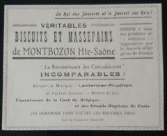 BISCUITS & MASSEPAINS DE MONTBOZON 70 LANTERNIER PRUDHON FOURNISSEUR COUR BELGIQUE 1905 BISCUIT MASSEPAIN - Advertising