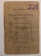 """Livret Individuel Mairie D'Aubervilliers 93 """"Travail Des Enfants Dans L'Industrie"""" Tanguy Lucienne Née Le 11/11/1913. - Documentos Antiguos"""