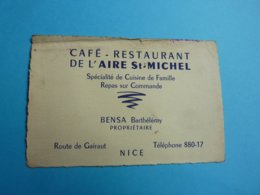 CARTE DE VISITE CAFE  RESTAURANT DE L'AIRE ST; MICHEL BENSA BARTHELEMY  NICE  ROUTE DE GAIRAUT ANNEE 40 - Cartoncini Da Visita