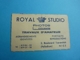 CARTE DE VISITE ROYAL STUDIO PHOTOS COLMARS TRAVAUX D'AMATEUR 2 BD. TZAREWITCH NICE ANNEE 40 - Cartoncini Da Visita