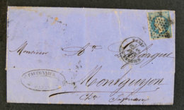 FRANCE - LET 19 - LETTRE 1862  +  YT 22 - Postmark Collection (Covers)