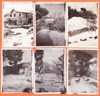Sat070 LE MAZET Gard ? Hérault ? De M. BOISSON Sous La Neige Hiver 19 Février 1933 Famille MARNAT - 6 Photographies 9x6 - Places