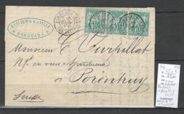Lettre Type Sage De Bordeaux Pour PORENTRUY - SUISSE - 1877 - Yvert 65 - Marcofilia (sobres)