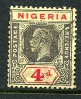 Nigeria 1921-32 KGV - Wmk. Mult. Script CA - 4d Black & Red On Yellow - Die II - Used (SG 24) - Nigeria (...-1960)