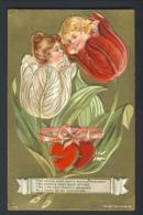 Flower Face Child Children - White Red Tulip - Red Hearts Embossed Gold Gilt Poem - San Valentino