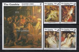 PINTURA/RUBENS - GAMBIA 1989 - Yvert #777/80+H61 - MNH ** - Rubens