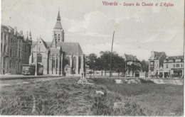 -VILVORDE- Square Du Chastel Et église + Tram 53 + En Petit Plan ,attelage ,personnages,-Carte écrite En 1928- Etat Par - Public Transport (surface)