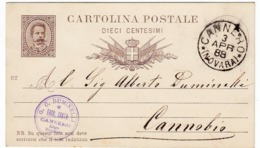 CARTOLINA POSTALE - DIECI CENTESIMI - TIMBRO CANNERO - NOVARA - 1888 - VERBANIA - Stamps (pictures)