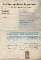 VP15.887 - Lettre - Compagnie Des Mines D'Or D'Auvergne à PARIS Rue Saint - Lazare - France