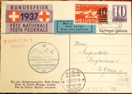 Schweiz Suisse 1937: Bundesfeier-PK CPI # 84 Soldat+Hund Zu PA 24 Mi 293 O FLUGMEETING ZÜRICH - SION 1.VIII.37 Heimplatz - Lettres & Documents
