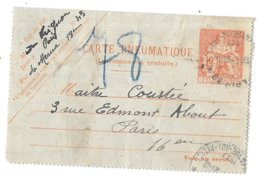CARTE PNEUMATIQUE..TYPE CHAPLAIN..N°2609  CLPP 19F  1947...    VOIR SCAN - Entiers Postaux