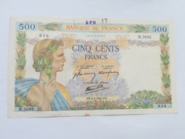 FRANCIA 500 FRANCS 1942 - 1871-1952 Circulated During XXth