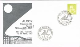 34346. Carta Exposicion ALCOY (Alicante) 1987. Inauguracion Puente FERNANDO REIG - 1931-Hoy: 2ª República - ... Juan Carlos I