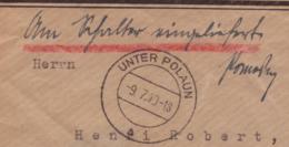 """Lettre Obl Unter Polaun Sudetenland 11.07.1940 -> Basel - Manuscrit """"Am Schalter Eingeliefert"""" Zensur/Censored/censure E - Covers & Documents"""