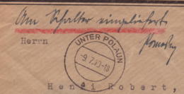 "Lettre Obl Unter Polaun Sudetenland 11.07.1940 -> Basel - Manuscrit ""Am Schalter Eingeliefert"" Zensur/Censored/censure E - Germany"