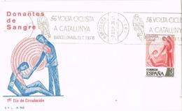 34350. Carta BARCELONA 1976. Rodillo Especial 56 Volta Ciclista Catalunya. Ciclismo - 1931-Hoy: 2ª República - ... Juan Carlos I