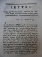 LETTRE ECRITE PAR DELESSART 1791 FRANÇAIS EXPATRIES RASSEMBLEMENT AUX PAYS BAS 14 NOVEMBRE 1791 - Historical Documents