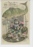 POISSON 1ER AVRIL -  Jolie Carte Fantaisie Portrait Fillette Avec Poisson 1er Avril - Erster April